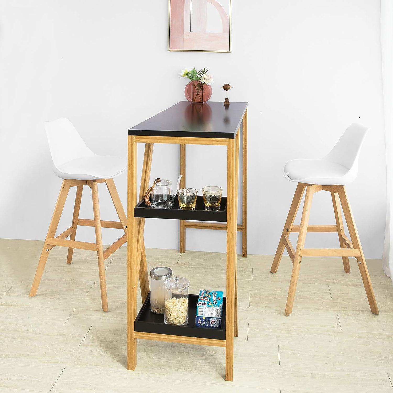 SoBuy FWT56-SCH Design Bartisch Stehtisch Bartresen Küchentheke Bambus  Küchenbar mit 2 Regalfächern