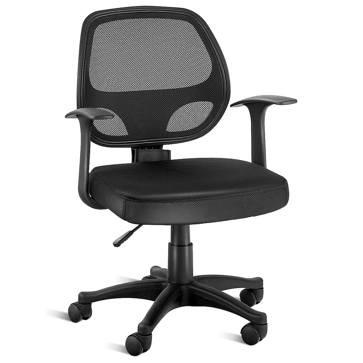 HAPPYGRILL Mid-Back Task Chair with Swivel Casters and Armrests Seat Height Adjustable Ergonomic Executive Mesh Office Chair (Black)