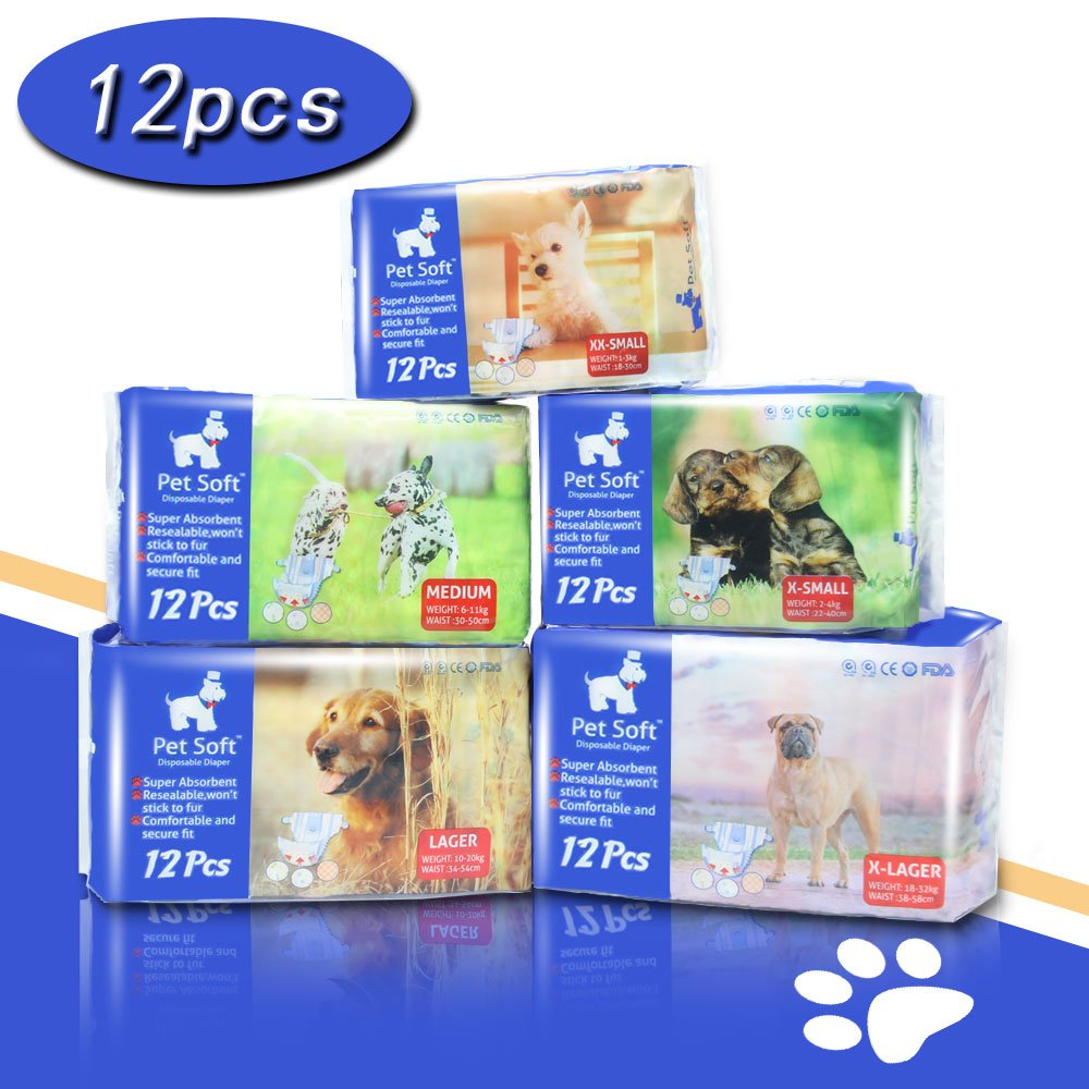 Amazon.com : Pet Soft Pet Disposable Female Puppy Dog Diaper, 12Pcs ...
