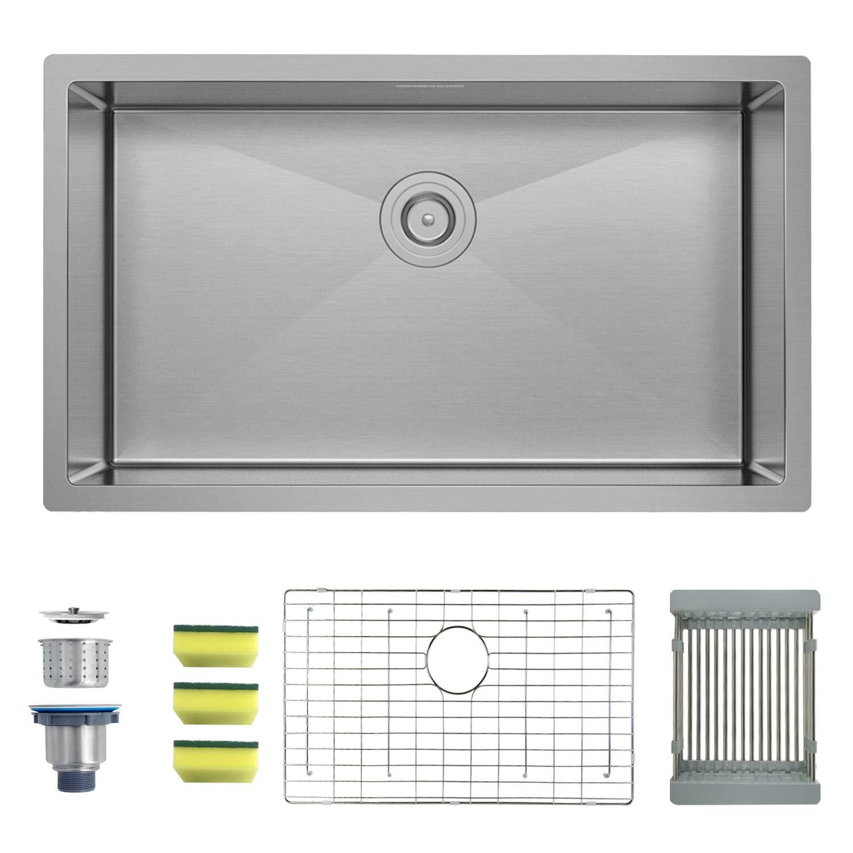 MENSARJOR 30'' x 18'' Single Bowl Kitchen Sink 16 Gauge Undermount Stainless Steel Kitchen Sink, Bar or Prep Kitchen sink
