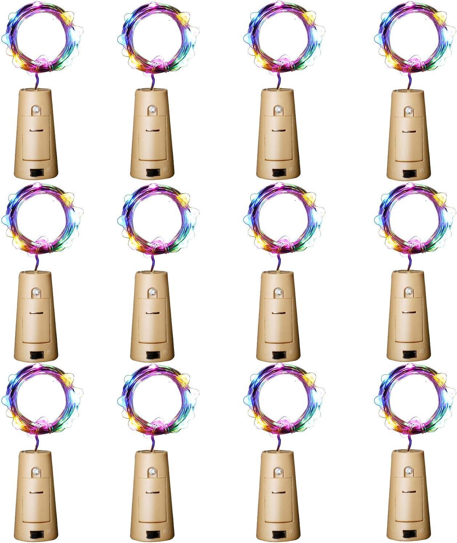Aluan Wine Bottle Lights 12 Pack 20LED Cork Bottle Lights with Screwdriver Battery Operated Wine Cork Lights String Lights for Party Wedding Christmas Halloween Bar Jar Lamp Decor, Colorful