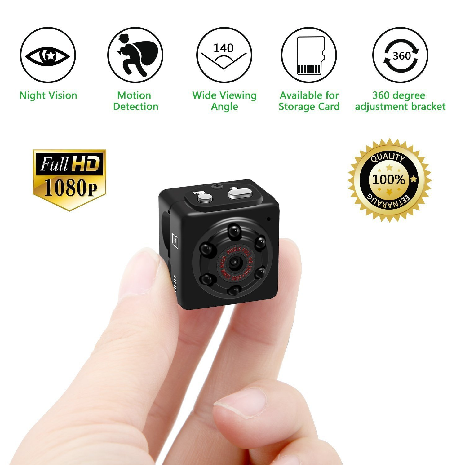 Mini Hidden Spy Camera, Tiny Nanny Hidden Camera System Surveillance Wireless 1080P Motion Detection Night Vision for Home Security -No WIFI Funtion