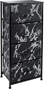 Sorbus Nightstand with 4 Drawers - Bedside Furniture & Night Stand End Table Dresser for Home, Bedroom Accessories, Office, College Dorm, Steel Frame, Wood Top (4-Drawer, Marble Black – Black Frame)