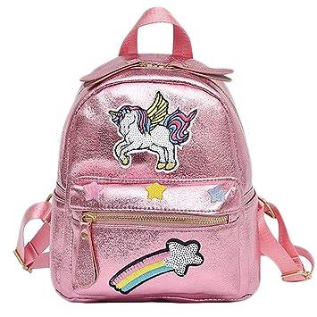 Lispeed Unicorn Rainbow Embroidery - Mochila para niña, diseño de Unicornio, Rosa, 20 * 11.5 * 24.5cm: Amazon.es: Deportes y aire libre