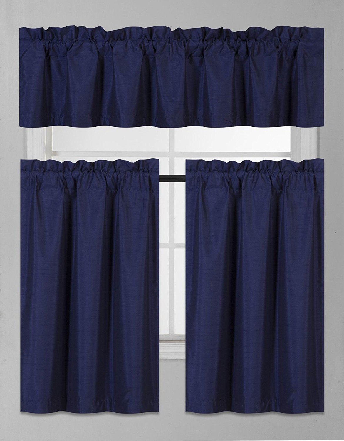 Elegant Home Collection 3 Piece Solid Color Faux Silk Blackout Kitchen Window Curtain Set with Tiers and Valance Solid Color Lined Thermal Blackout Drape Window Treatment Set #K3 (Navy Blue)