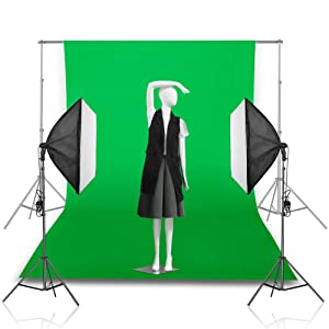 Emart 6 x 9 ft Photography Backdrop Background, Green Chromakey Muslin Background Screen for Photo Video Studio, 4 x Backdrop Clip (Color: Green)