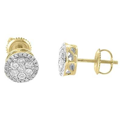 58eda32dc8eb 8 mm pendientes 10 K Amarillo Oro Solitario corte redondo Real de diamante 0