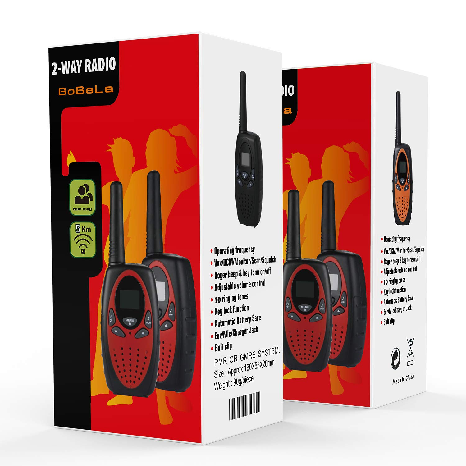 Bobela Kids walkie talkies 4 Pack, Funny and Novelty Birthday Gifts for 3,4,5,6,7,8,9,10,11 Years Old Boy and Girls,Easter Gift, Simple Button and Easy to Use in Football Party(M880 Red) by Bobela (Image #8)