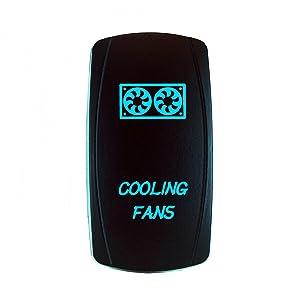 STVMotorsports Laser Cooling Fans Blue Rocker Switch 20A 12V On-Off LED Light