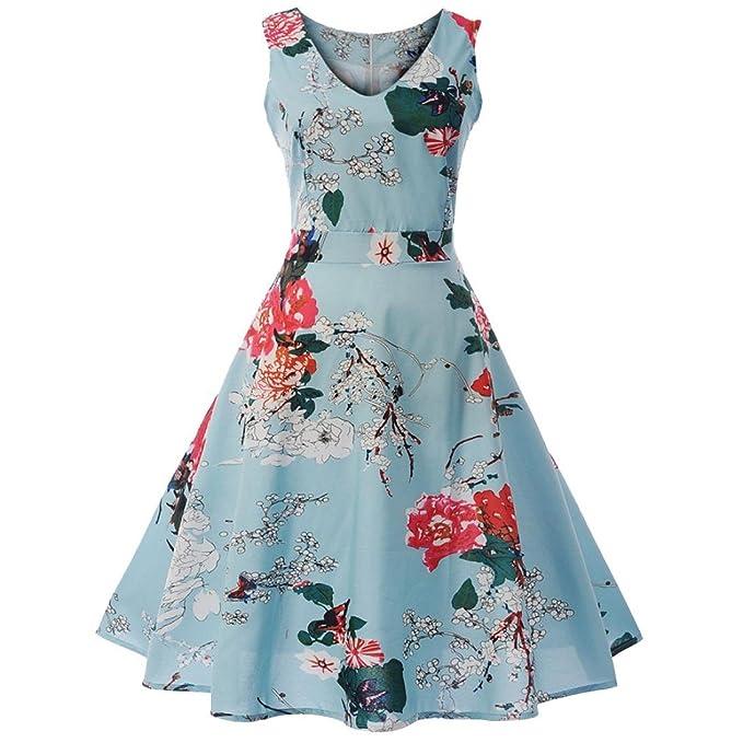 068b0603ff3ba6 Amphia Damen Frauen Floral Elegant Sleeveless Vintage Tee Hepburn Kleid  Ballkleid: Amazon.de: Bekleidung