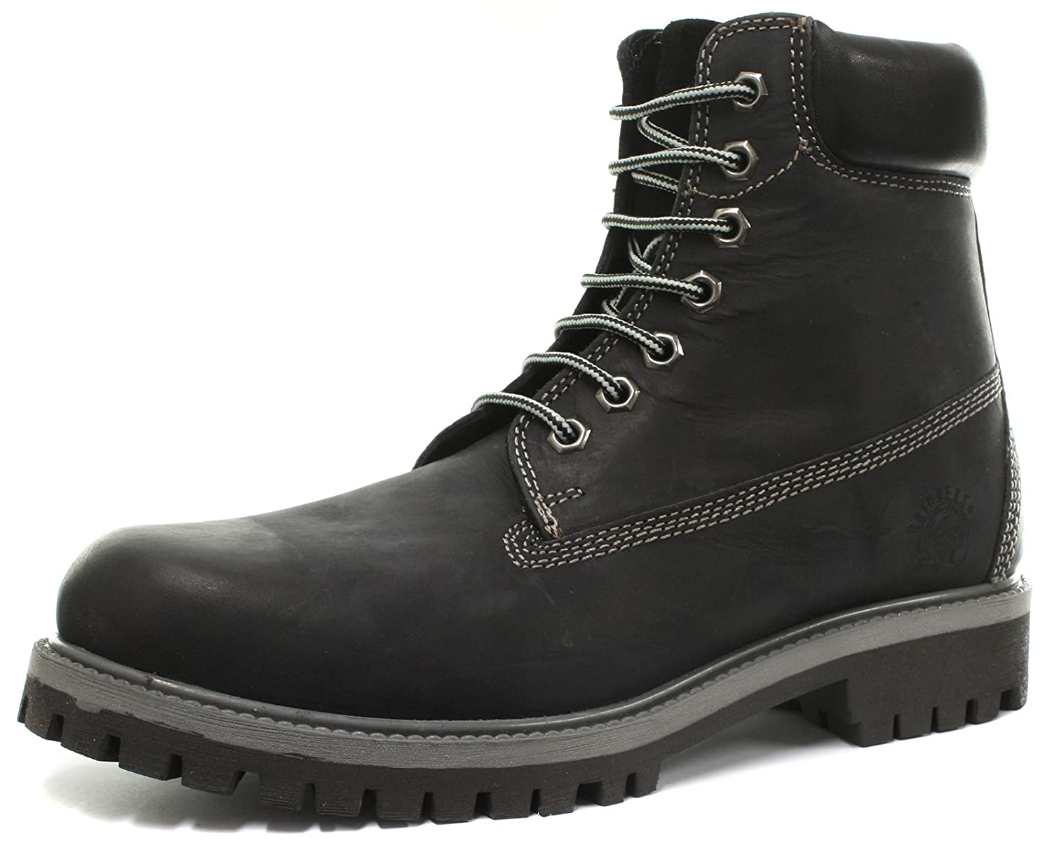 Grinders Brixton Herren Stiefel Black Oil Distress