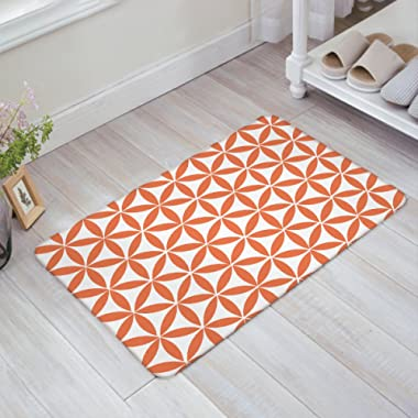 SIMIGREE Fashion Simple Geometric Orange Door Mats Kitchen Floor Bath Entrance Rug Mat Absorbent Indoor Bathroom Decor Doormats Rubber Non Slip 18  x 30