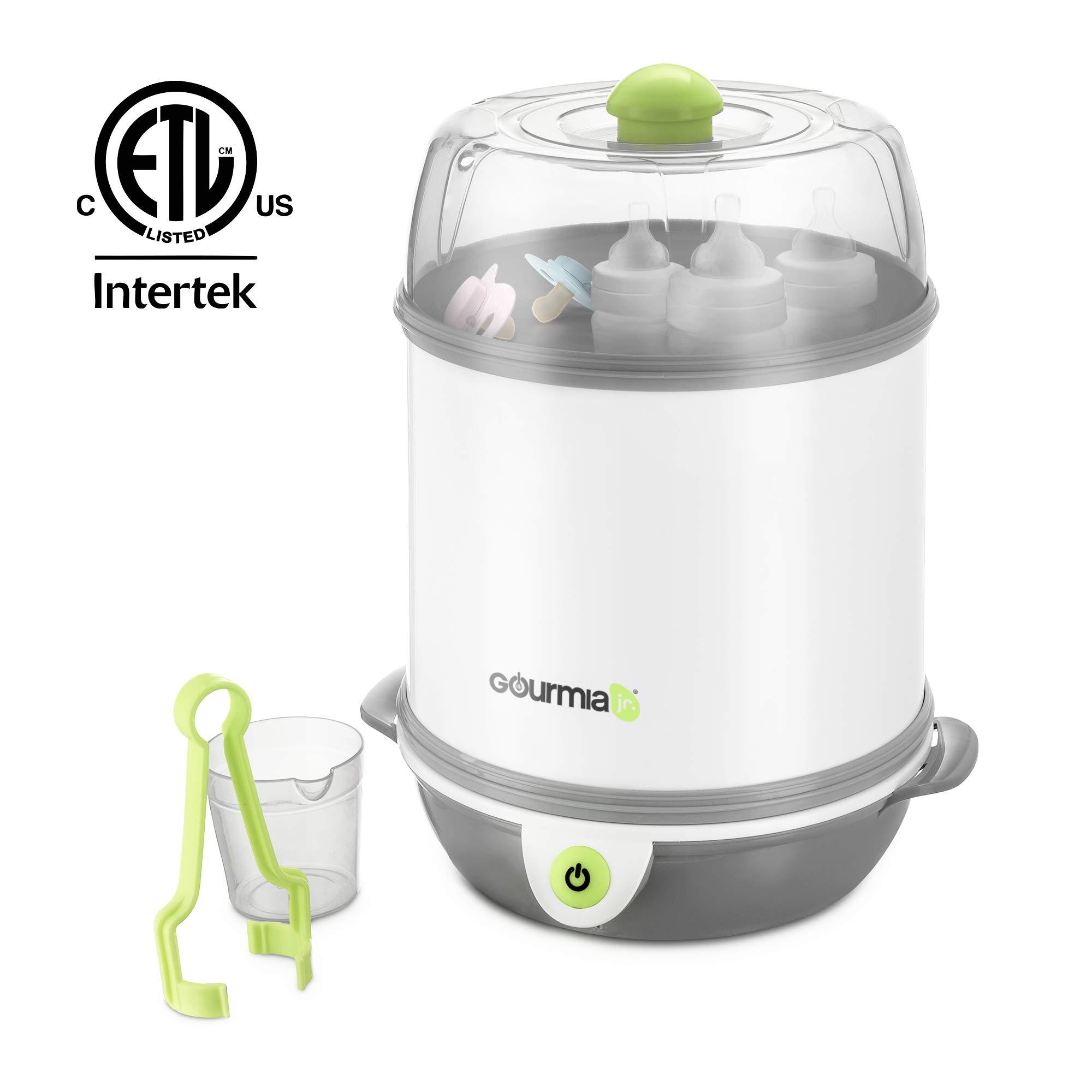Gourmia Jr. Baby Bottle Sterilizer, 7-Bottle Sterilizing Chamber, Single-Button Operation, Stainless Steel Heating Plate, Dishwasher-Safe Removable Parts, JBS100, ETL-Certified