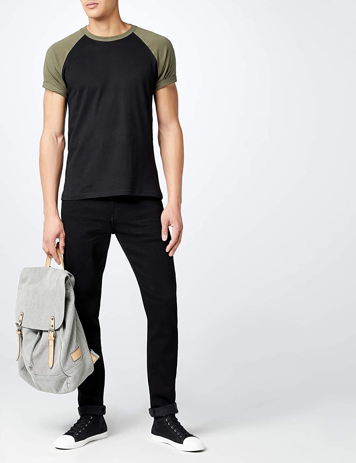 Urban Classics Men's Baseball T-Shirt, Contrast Shortsleeves T-Shirt, Sports Shirt, Crew Neck, 100% Jersey Cotton, Different Colours Available, Sizes: S-5XL Olive/Black
