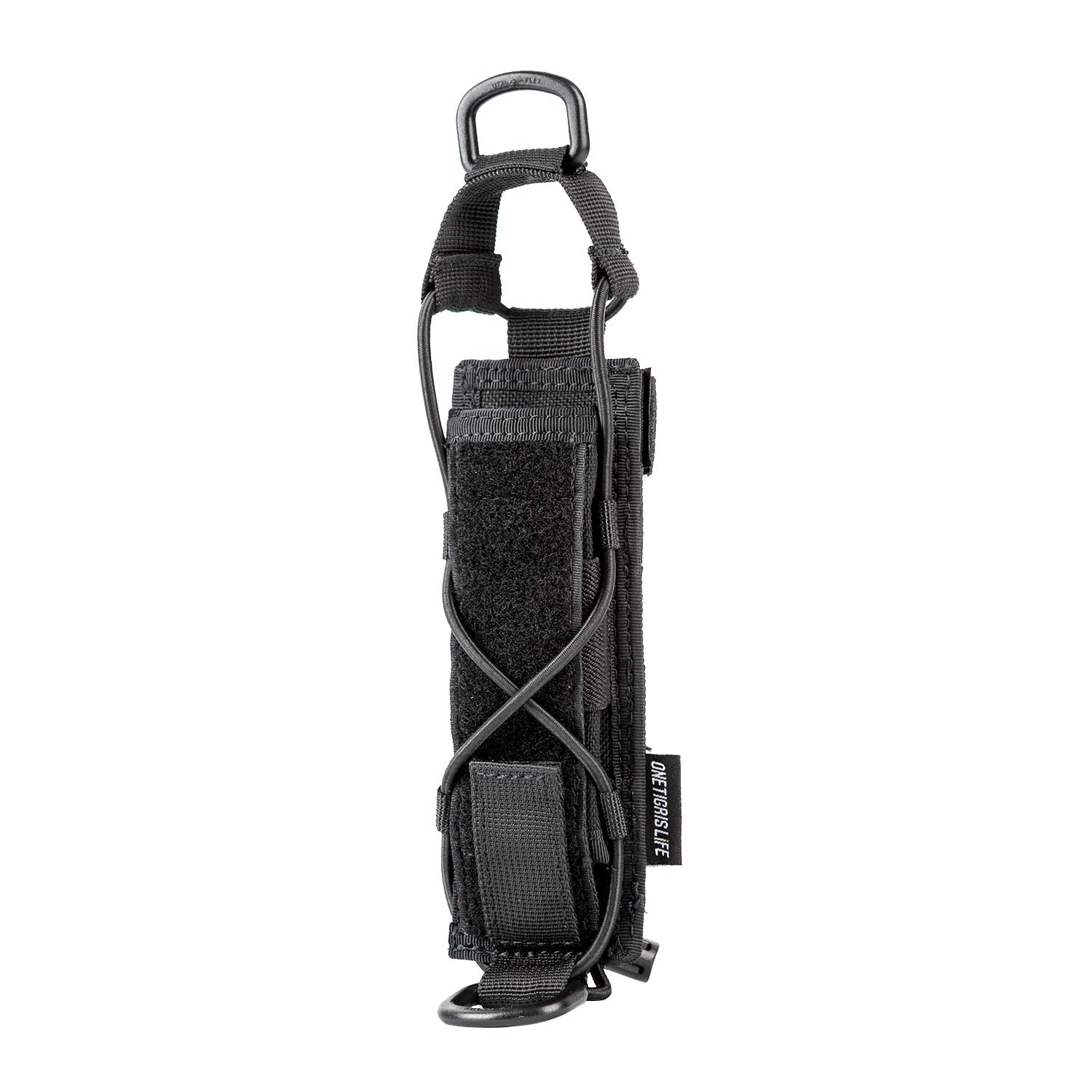 OneTigris Tactical Flashlight Holster Open-top Holder Pouch for Torch Linear Hand Tool with MOLLE Strap for Vertical & Horizontal Carrying (Black) by OneTigris