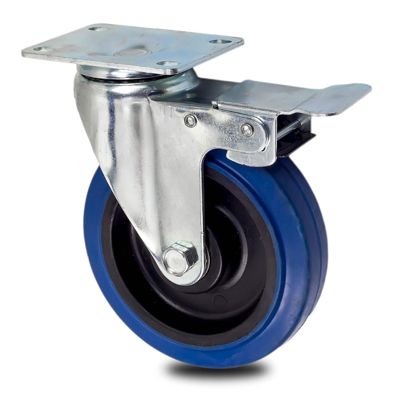Lenkrolle R/ückenloch 1 Inox Trade Roulettes de transport roulettes pour meuble roulettes pour charges lourdes roulettes fixes ou pivotantes au choix 50 mm