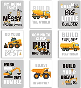 Set of 9 Construction Trucks Inspirational Quote Art Print Transport Vehicle Motivational Phrases Wall Art Poster Nursery or Kids Room Decoration Unframed, 8 x 10 Inch