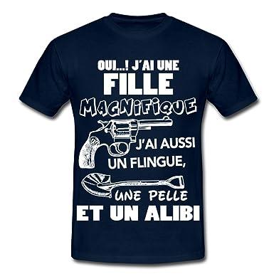 656b5a58a87af Spreadshirt Père Oui J Ai Une Fille Magnifique T-Shirt Homme  Amazon ...