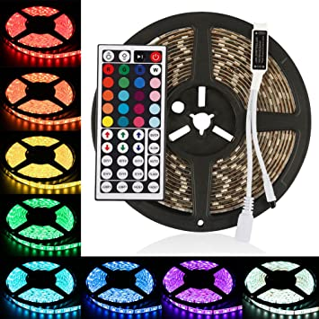 Amazonledmo rgb led strip lights kit 12v dc 300 leds ip65 ledmo rgb led strip lights kit 12v dc 300 leds ip65 waterproof led lights mozeypictures Images