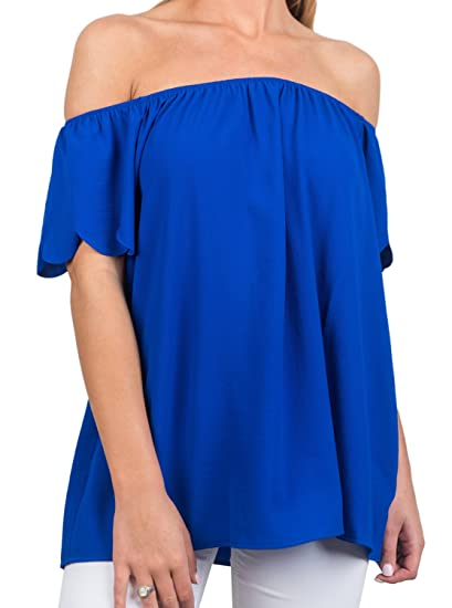 a9a47800d420 Womens Fashion Off The Shoulder Short Sleeve Solid Sexy Summer Loose Shirt  Blouse Tops Royal Blue Large at Amazon Women's Clothing store: