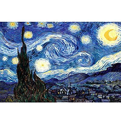 Jigsaw Puzzles 1000 Pieces for Adults, Wooden Pattern Blocks Jigsaw Puzzle Unique Home Decoration Educational Toy Gift - Starry Night by Vincent Van Gogh: Home & Kitchen