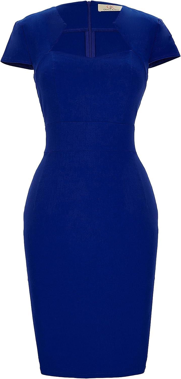 TALLA M. Belle Poque Vintage Mujer Lápiz Bodycon Vestido CL7597-18 M Azul Oscuro(cl8947-3)