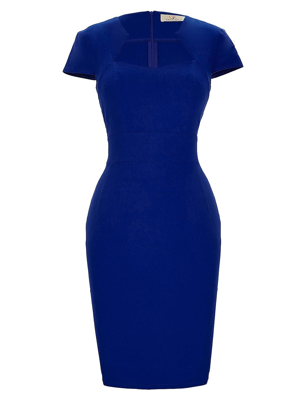 TALLA M. GRACE KARIN Vestido de Swing Retro Manga del Casquillo Estampada Vestido de la Fiesta para Mujer Azul Oscuro(cl8947-3)