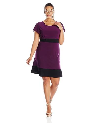 Star Vixen Women's Plus-Size Short-Sleeve A-Line Dress
