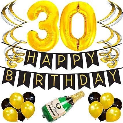 Paquete para Fiesta de Cumpleaños Número 30 – Paquete con Banderín de Feliz Cumpleaños Negro y Dorado, Pompones y Serpentinas - Decoración para ...