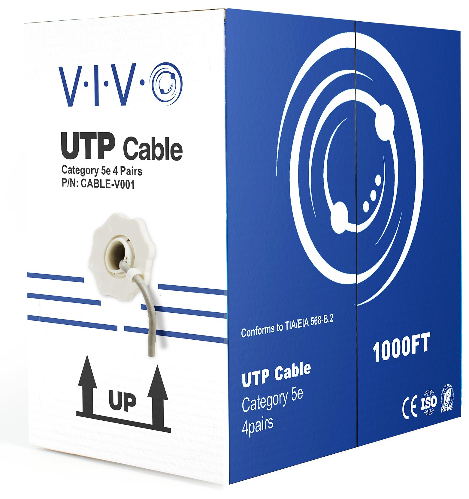 VIVO 1,000 ft bulk Cat5e Ethernet Cable/Wire UTP Pull Box 1,000ft Cat-5e Style Grey (CABLE-V001) by VIVO