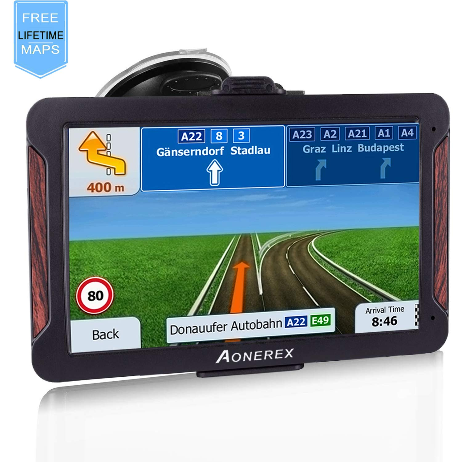 AONEREX GPS Navigation 7inch HD-8GB 256Mb Car GPS Navigation, Voice Traffic Warning,Speed Limit Reminder Satellite Navigation System with Non-Slip Car Bracket Holder-Lifetime Free Map Updates by Aonerex (Image #1)