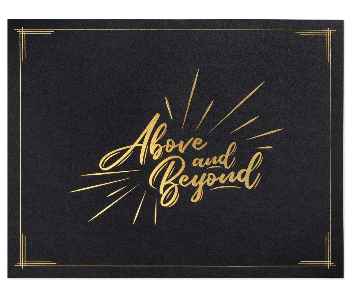Above and Beyond Certificate Jackets, 9 Inches x 12 Inches Folded, Black with Gold Foil, 50 Count by PaperDirect