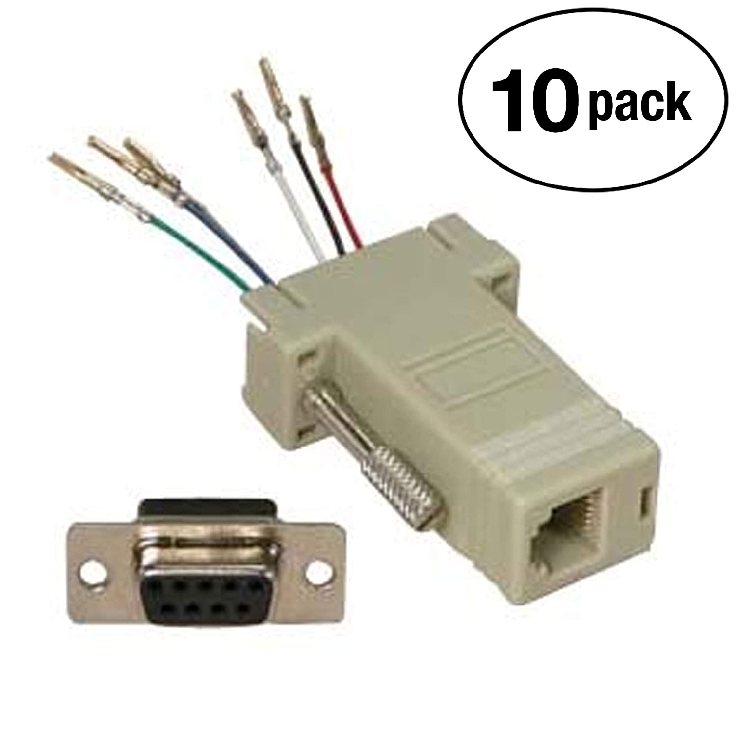 amazon com: installerparts db9 female to rj11/12 (6 wire) modular adapter  ivory - gold plated: electronics