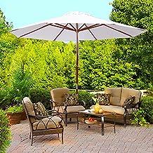 9ft Wood Outdoor Patio Pure White Umbrella Market Garden Yard Beach Deck Cafe Wedding Party Sunshade