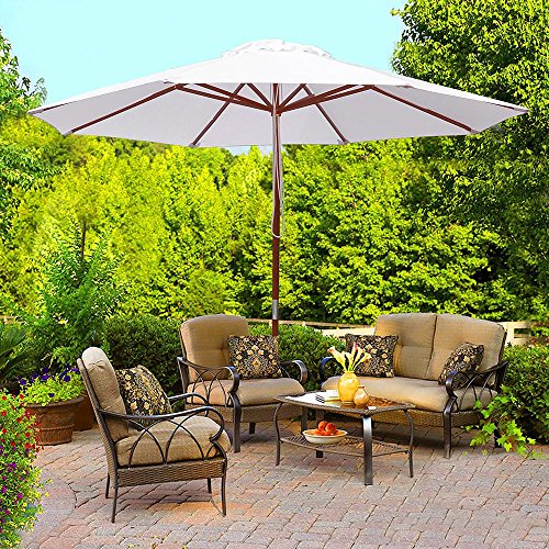 9ft Wood Outdoor Patio Pure White Umbrella Market Garden Yard Beach Deck Cafe Wedding Party Sunshade 71bhydx3EQL