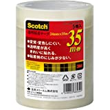 3M スリーエム スコッチ 透明テープ 5巻 24mm×35m 芯76mm 500-3-2435-5P