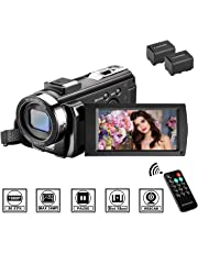 Video Camera Camcorder MELCAM 1080P 30FPS 24MP 3.0 Inch Screen Digital Camera with Remote Control and 2 Rechargeable Batteries,Youtuber and Webcam Recorder
