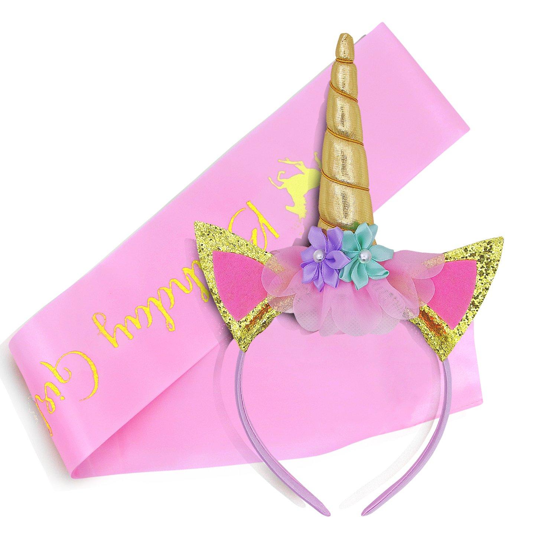 Elehere Unicorn Birthday Girl Tiara Sash | Gold Headband, Pink Satin Sash Set | Glitter Unicorn Party Supplies Gifts Decorations (Set)