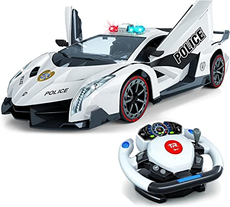 Amazon Com Remote Control Police Car 4d Motion Gravity And Steering Wheel Control 1 12 Scale 2 4ghz With Lights Sirens Powered Doors Tr 911 Toys Games