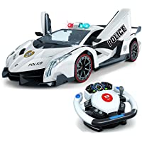Remote Control Police Car, 4D Motion Gravity and Steering Wheel Control, 1:12 Scale...