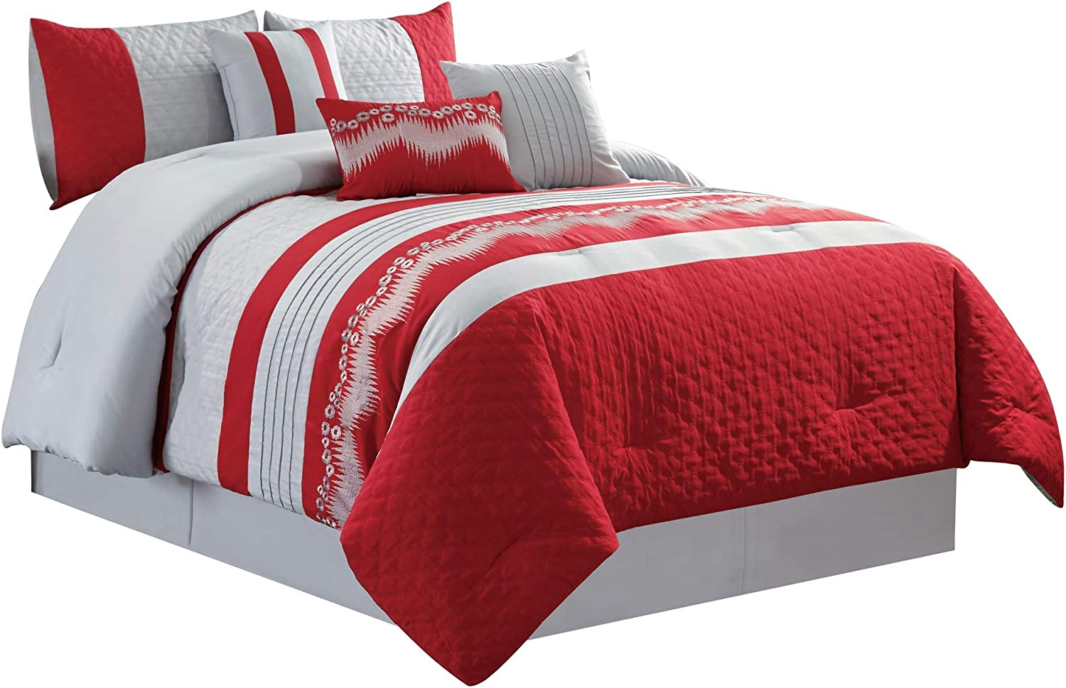 WPM Embroidered 7 Piece Bedding Set, Silver Grey, Red Comforter with Bed Skirt, Pillow Shams and Accent Pillows Size Bed in a Bag-WAKANA (King)