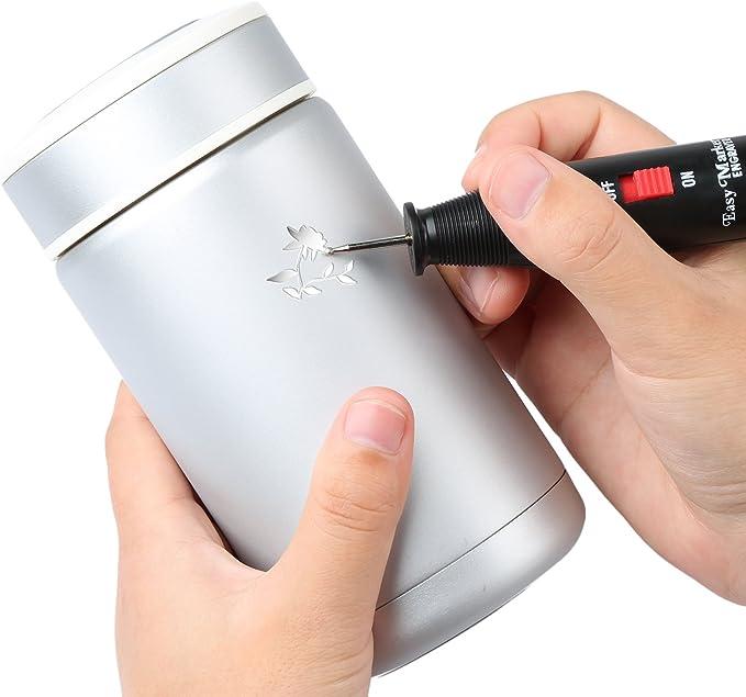 Batteriebetriebener Gravierstift Gravurwerkzeug Elektroschaber Gravierer Gravurstift Diamantspitze Gravierger/ät f/ür Holz Glas Metall Stein Kunststoff Keramik