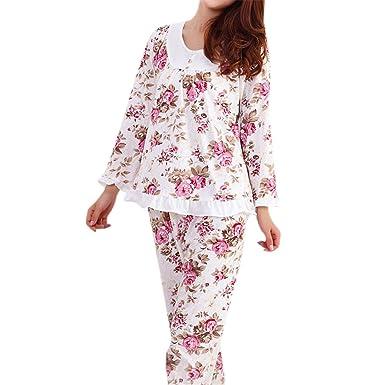 RENXINGLI Women Pajamas Set Pyjamas Floral Print Sleepwear Homewear Nightgown Pijama Mujer Multicolor M