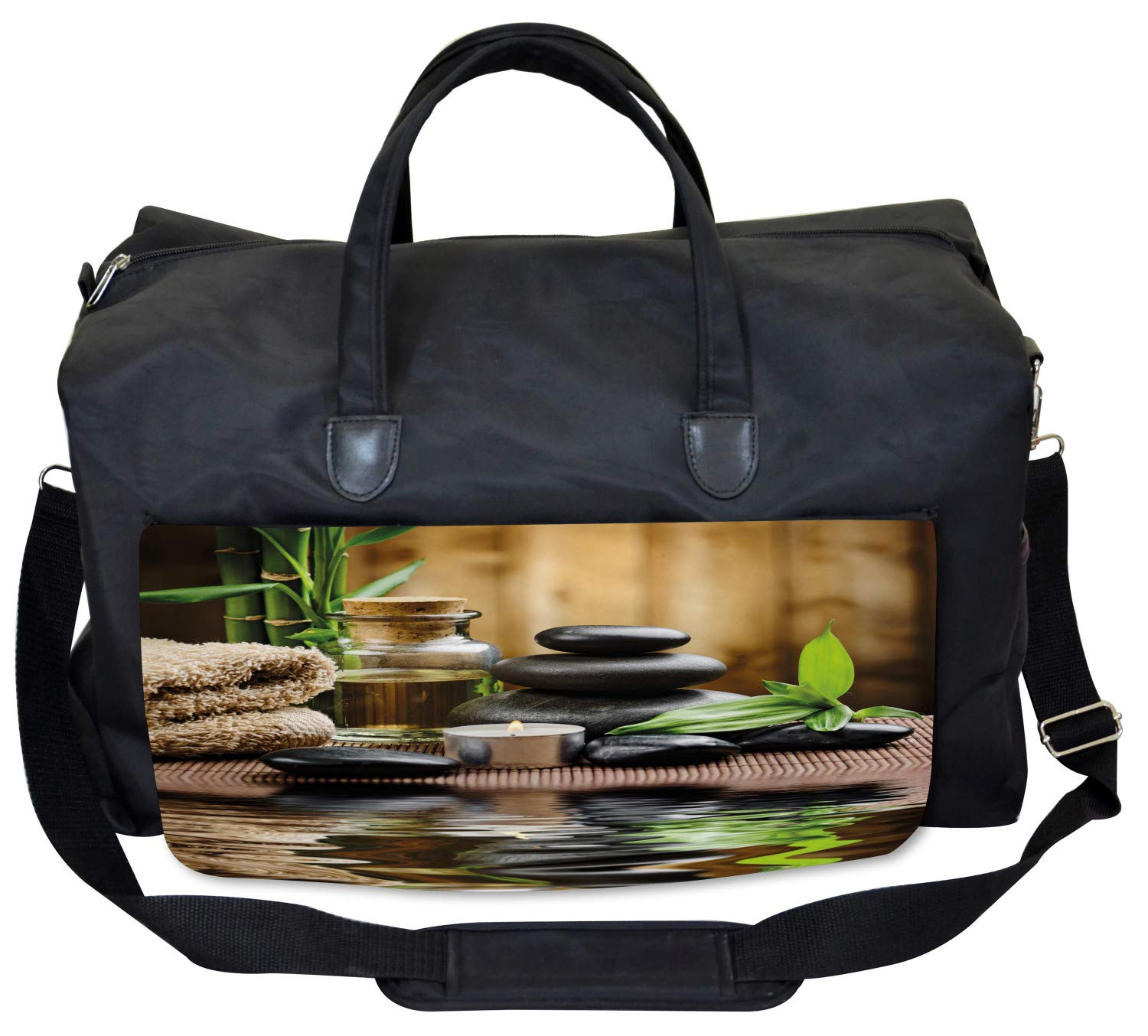Asian Zen Massage Stones Large Weekender Carry-on Ambesonne Spa Gym Bag