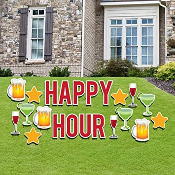 Amazon.com: VictoryStore Happy Hour Yard Sign: Happy Hour ...