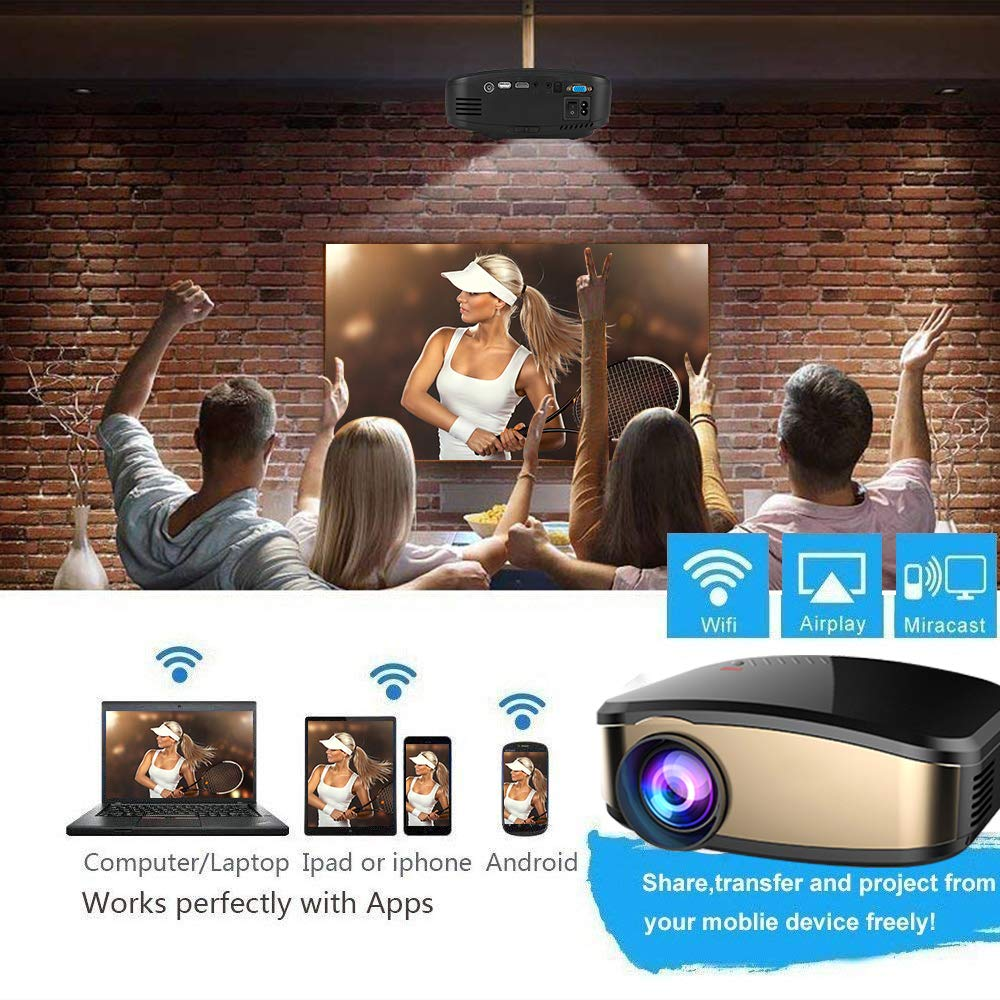 Projector DIWUER Wireless WiFi Projector (2018 Upgraded) Portable Video LED Projector Full HD 1080P Home Theater Projector Compatible with HDMI USB VGA AV Input for iPhone PC Laptop by DIWUER (Image #8)
