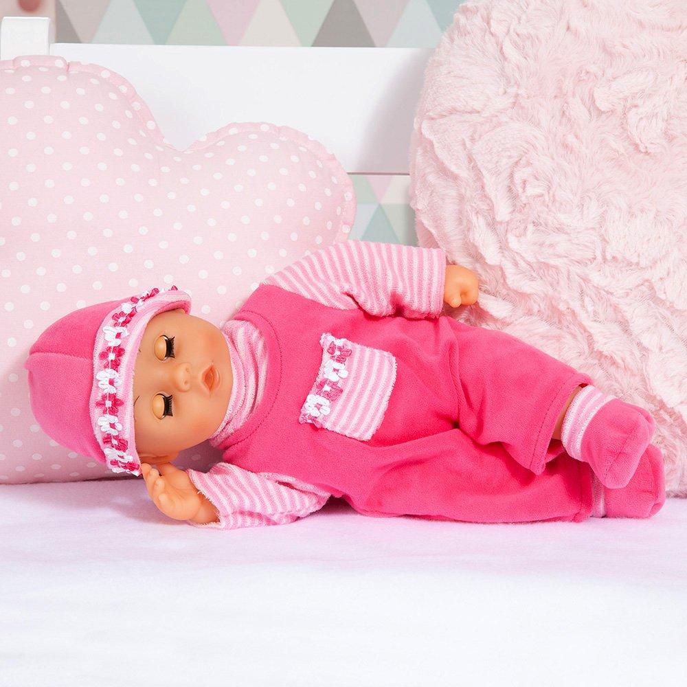 Bayer Design - 93825AA - Muñeca bebé primeras Palabras (24 Sonidos, 38 cm) - muñeca con un biberón y un Chupete, Color Rosa