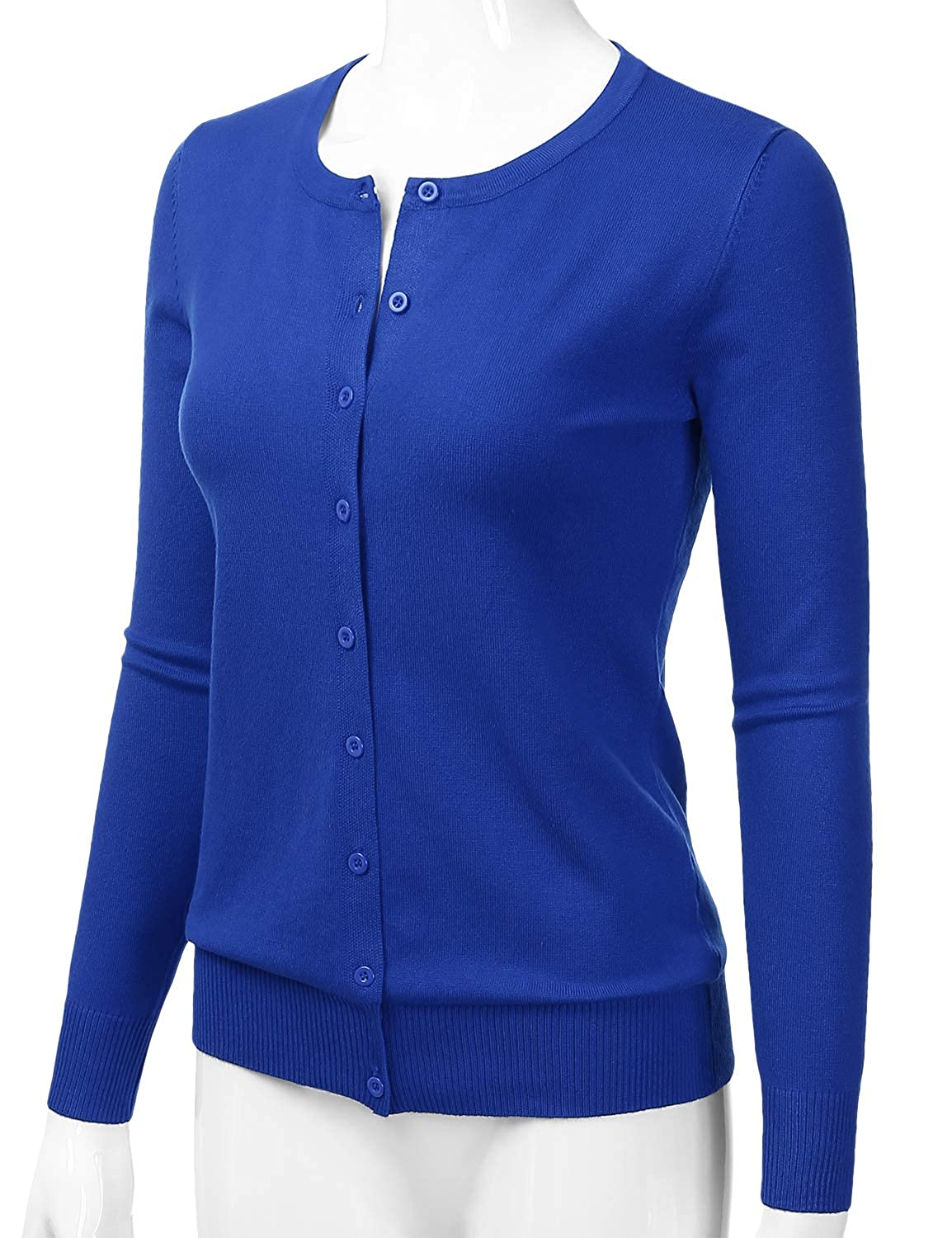 LALABEE Womens Crewneck Long Sleeve Button Down Knit Cardigan Sweater S-XL