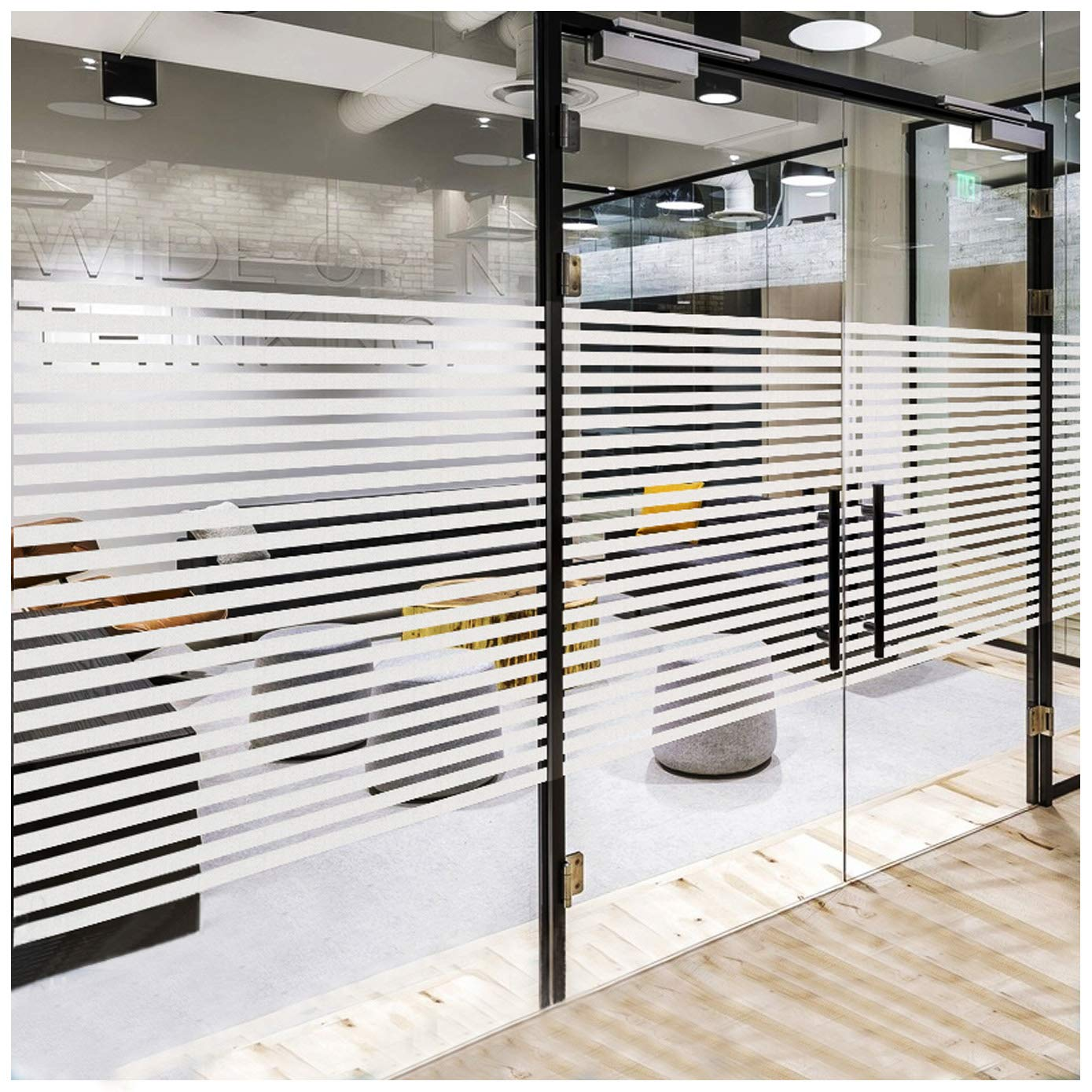 Frosted Window Privacy Clings, Non-Adhesive Window Film Frosting Stripes  Etched Glass Effect for Home Kitchen Office Meeting Room Living Room - Easy