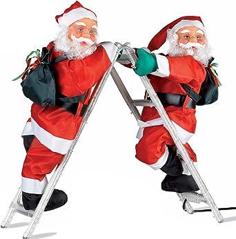 Papá Noel trepador, para Navidad, 2 unidades, en escalera rígida articulada con tubo luminoso con LED multicolor, para colocarlas apoyadas como en la foto o en la pared: Amazon.es: Iluminación